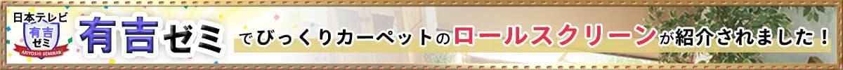日本テレビ『有吉ゼミ』でびっくりカーペットのロールスクリーンが紹介されました