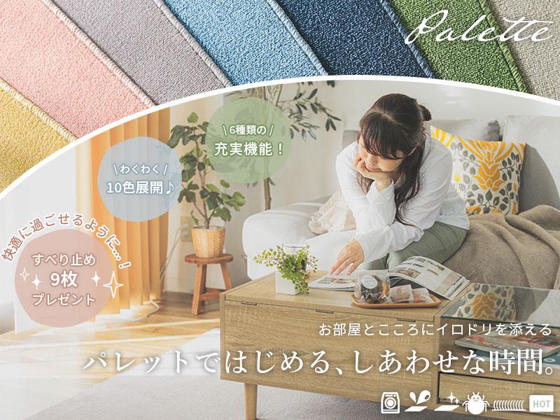 充実機能とカーテンとの組み合わせで、お部屋作りが楽しくなるラグ『パレット』