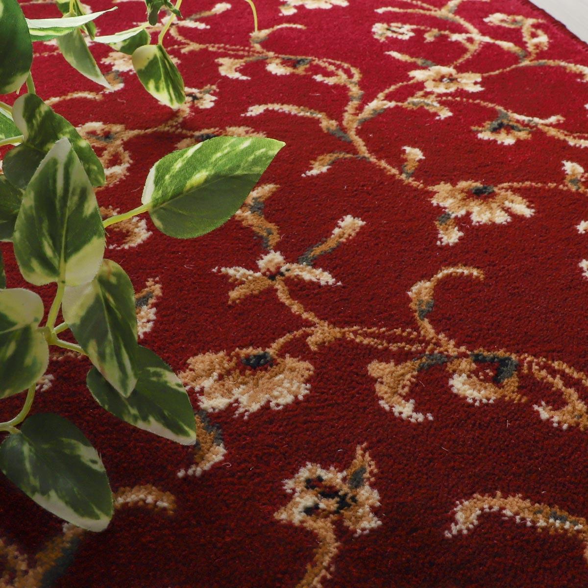 100サイズ 防炎加工付き!エレガントで優美な小花柄ウィルトン織りカーペット【アスベル】