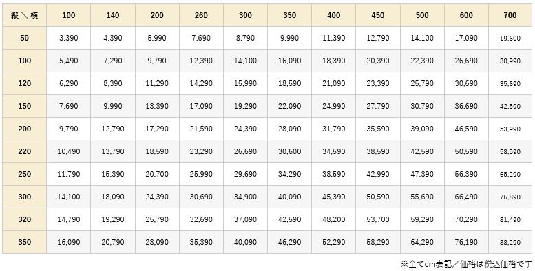 クルテ価格表