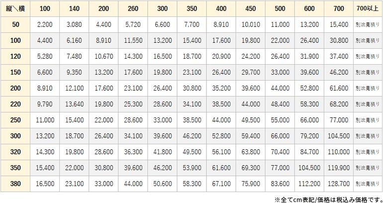 アクラ価格表