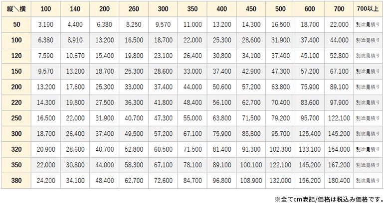 アーチ価格表