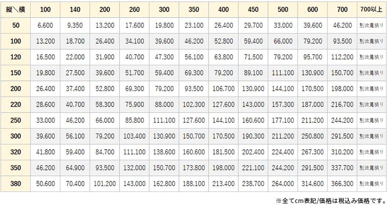 ドレイス価格表