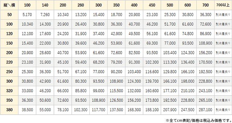 メリノチェック価格表