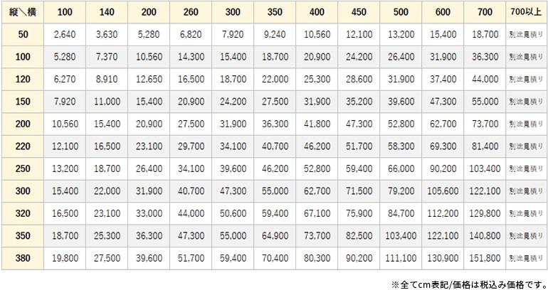 テクノ価格表
