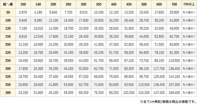 ウーリー価格表