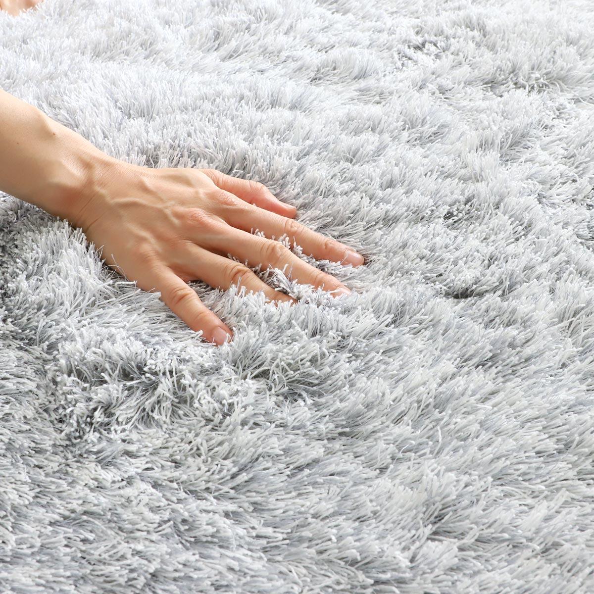 100サイズ 自然な風合いと光沢感のある国産シャギーカーペット【エクル】