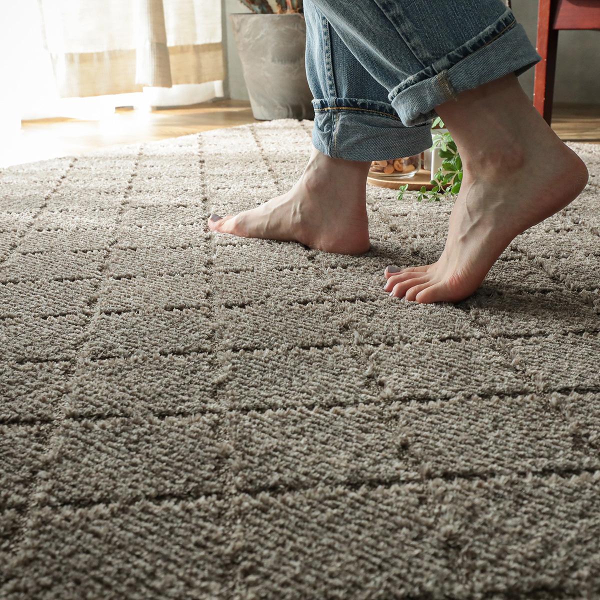 踏み心地のいいカーペット。抗菌加工でずっとさわやか。