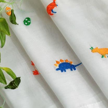 シンプル刺繍レースカーテン