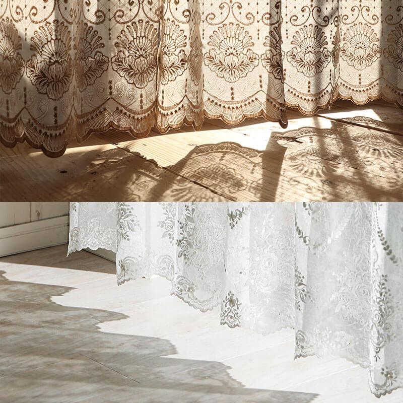 刺繍カーテンの優美な陰影