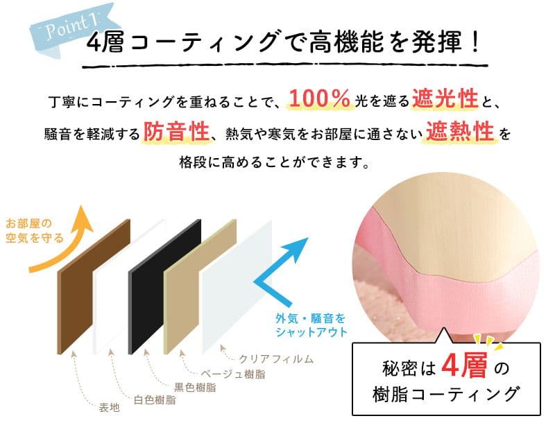 4層コーティングで高機能を発揮!丁寧にコーティングを重ねることで、100%光を遮る遮光性と、騒音を軽減する防音性、熱気や寒気をお部屋に通さない遮熱性を格段に高めることができます。