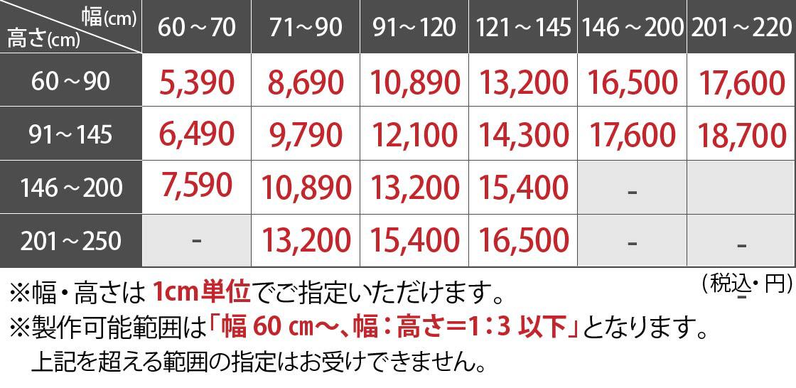 柄プリントロールスクリーン価格表