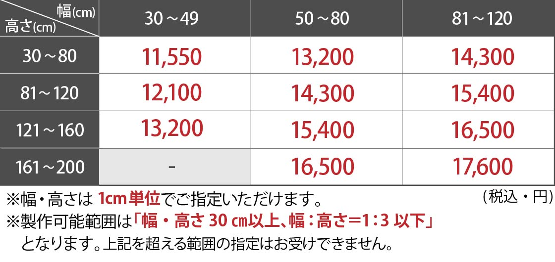 プルコード式価格表