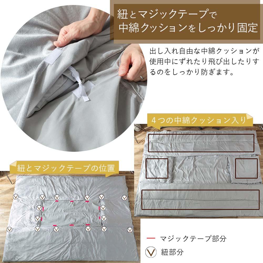 中綿を紐とマジックテープでしっかり固定 マルメ