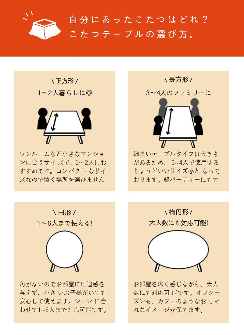 こたつ布団 こたつテーブルの選び方