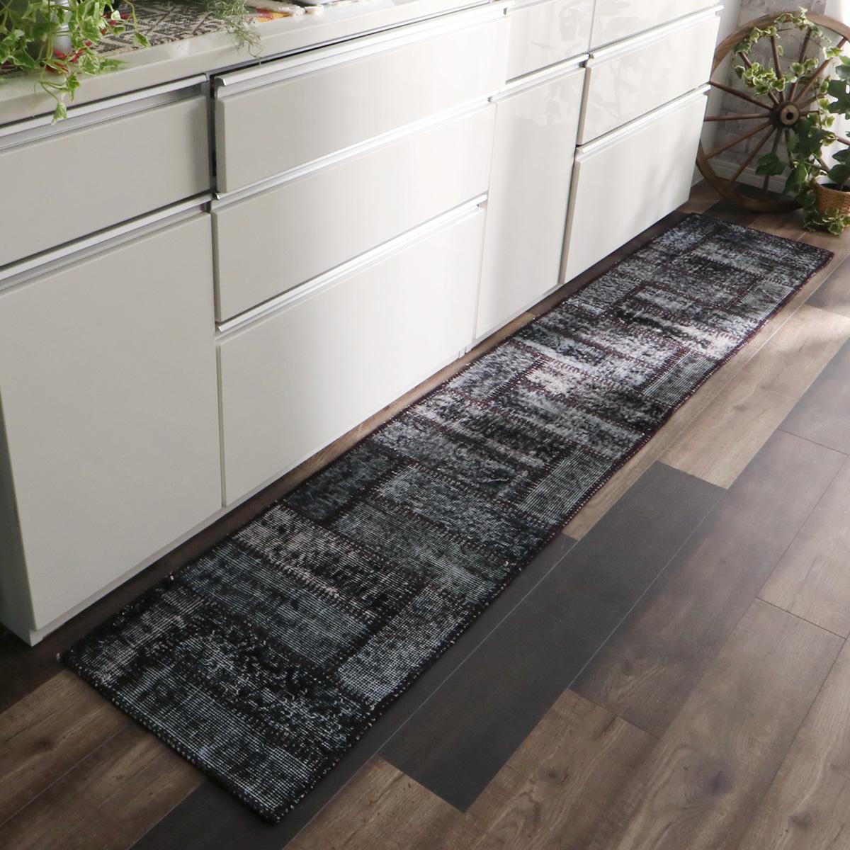 トルコ絨毯のビンテージパッチワークキッチンマット