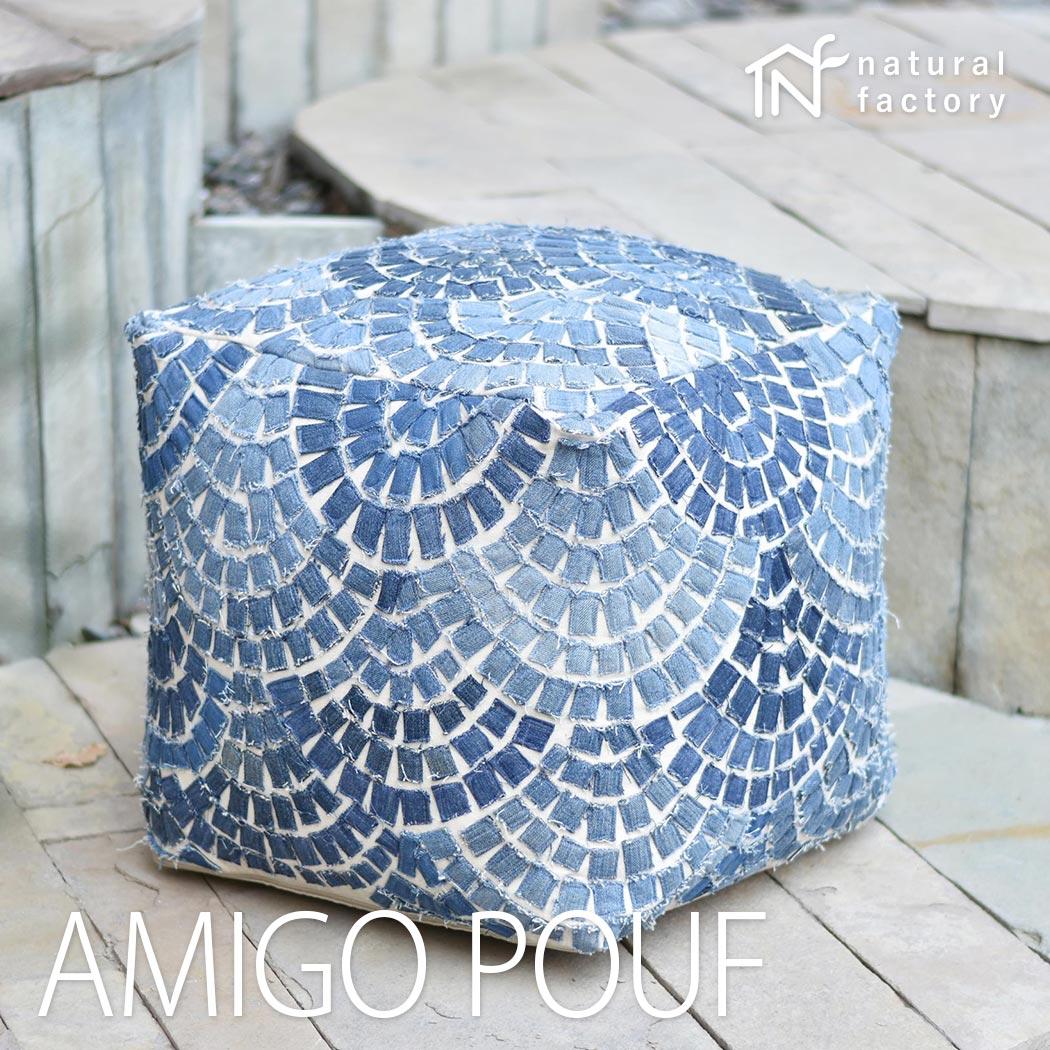 AMIGOPOUF オシャレな輸入インド雑貨  ブルー 約40x40x40cm