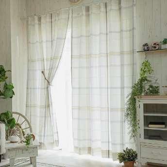 大きめのチェック柄が可愛いナチュラルデザイン!綿混ドレープカーテン 『セディカ ベージュ』