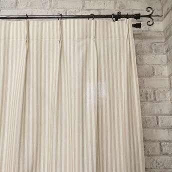 天然素材の洗いざらし風合いがナチュラルなストライプ柄カーテン 『シュシュナ ベージュ』