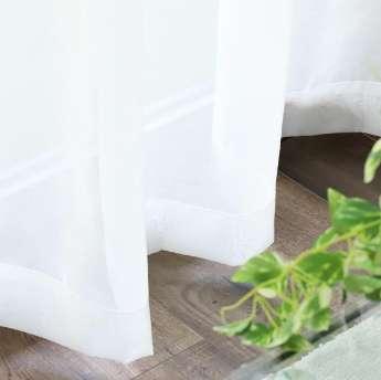 優しい透け感!シンプルな白い無地ボイルレースカーテン『マテラ アイボリー』
