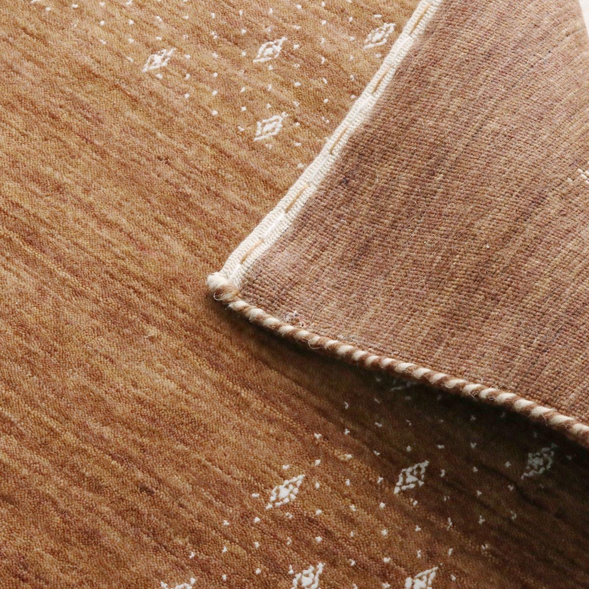 裏面を見ると織の細かさが確認できます。ホットカーペット&床暖房対応です。