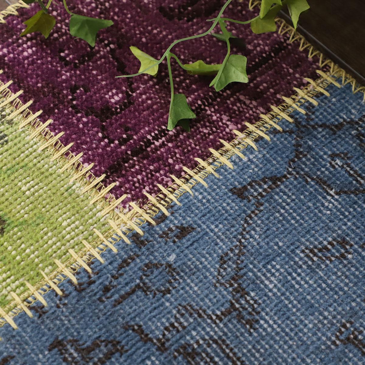 トルコ絨毯 モダン リメイクマット 海外インテリア『ビンテージパッチワークマット』