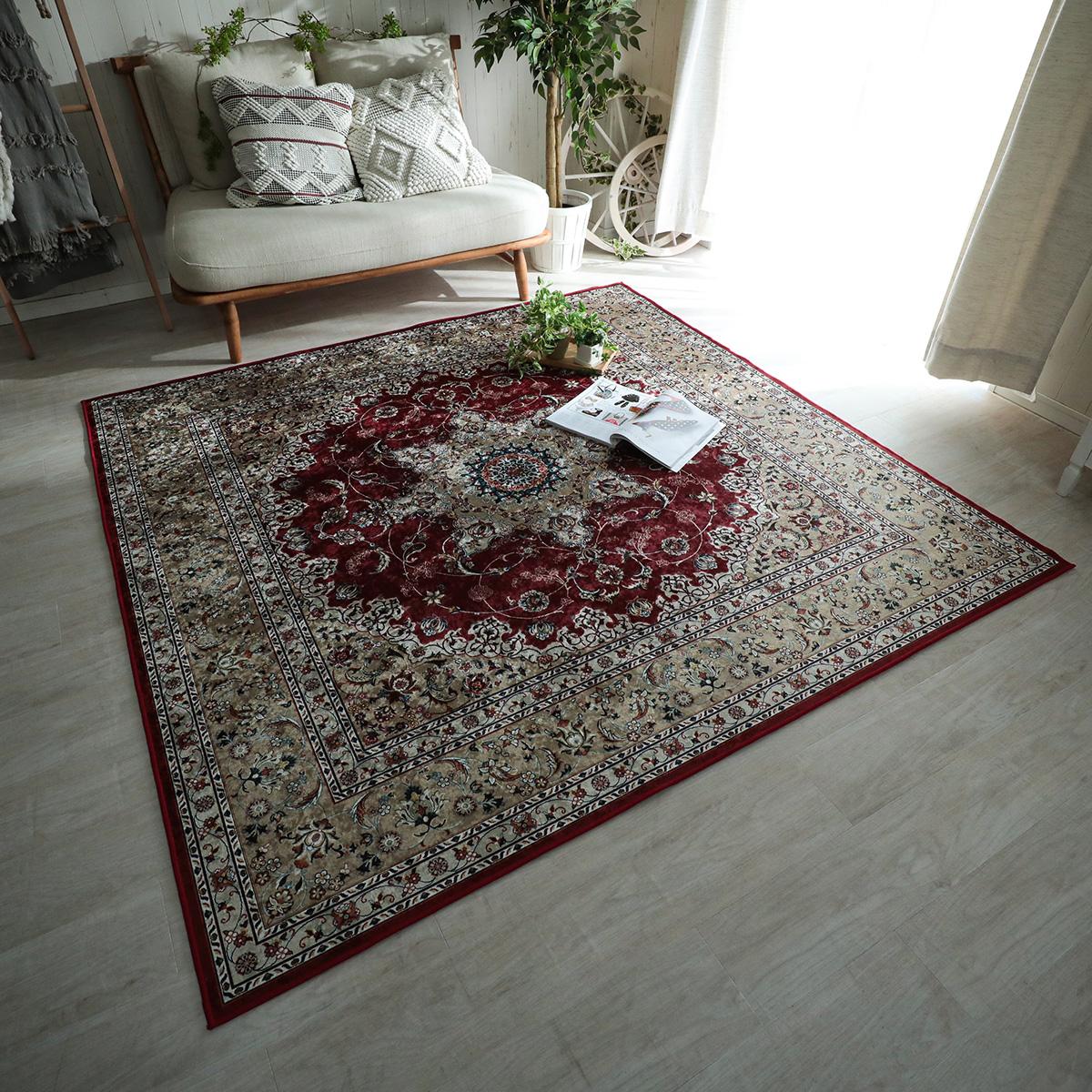 洗濯機で洗えるペルシャ絨毯風ラグ レッド 約190x190cm