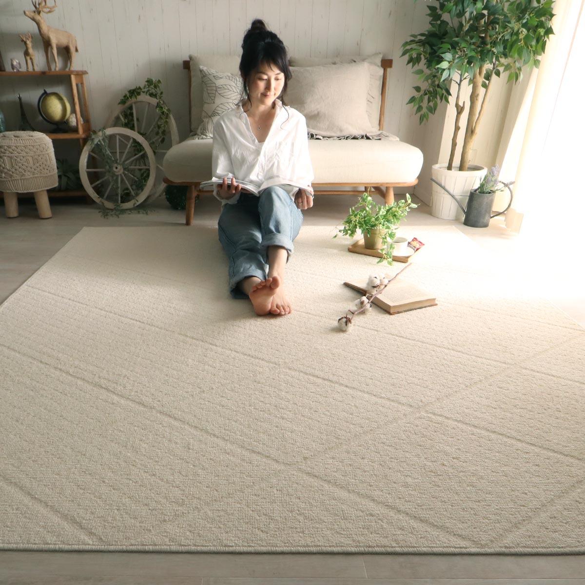 洗える天然素材リネンと綿の日本製防ダニラグ『ツイディル』