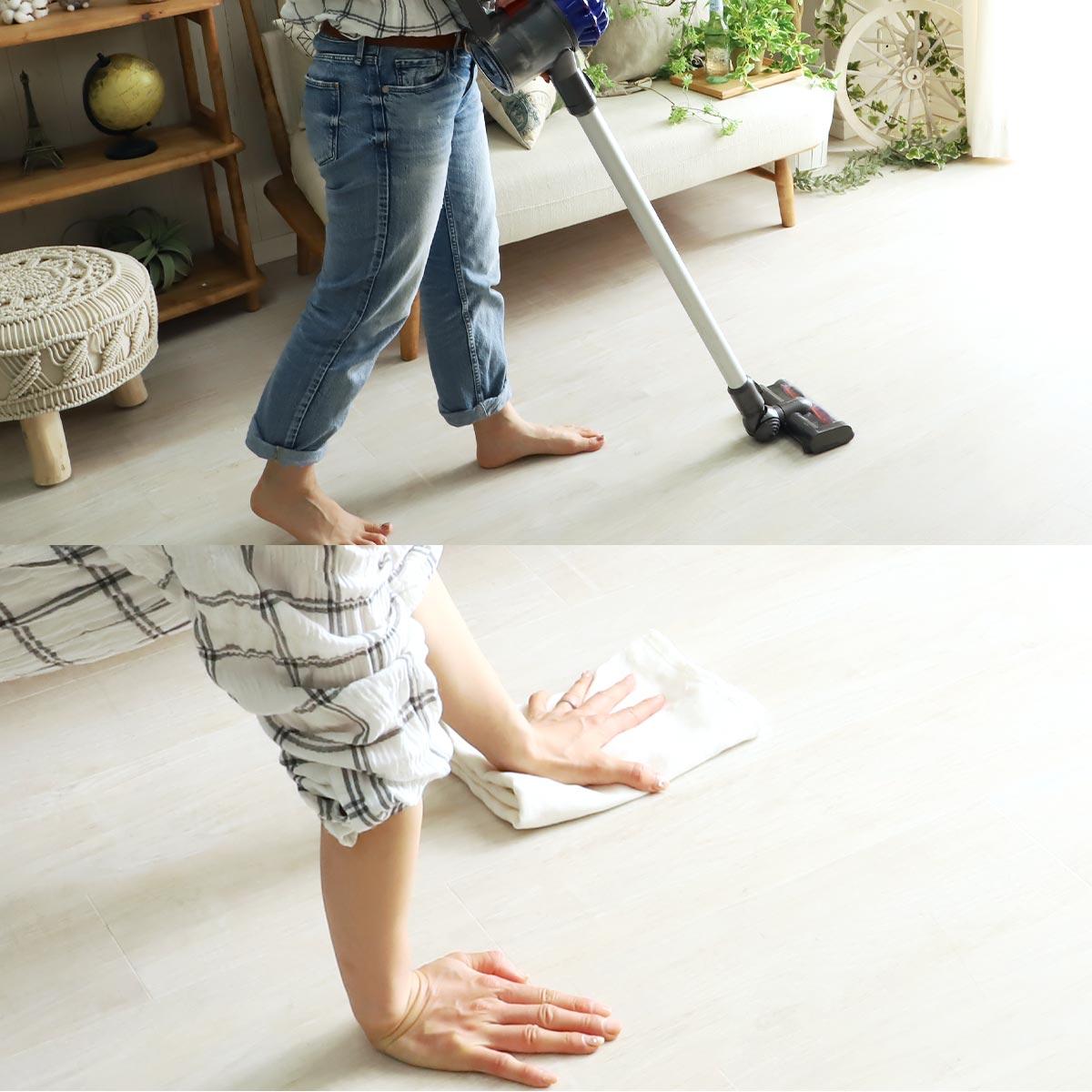 すべり止めの効果を最大限生かすため、掃除機で床のホコリやゴミをしっかり取り除いてください。