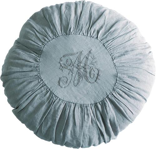 ナチュラル シンプル 円形 リネンのクッションカバー